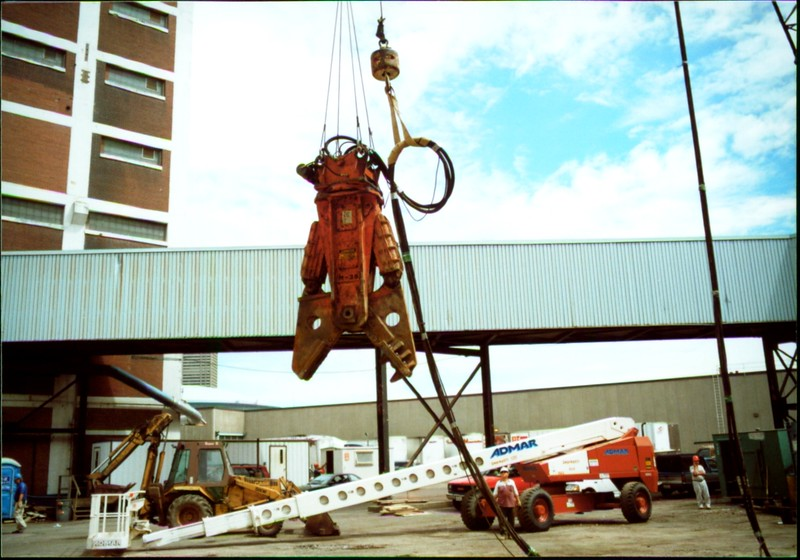 NPK M38G concrete pulverizer on crane-commerical demolition-Buffalo 7-8-00 (1).JPG