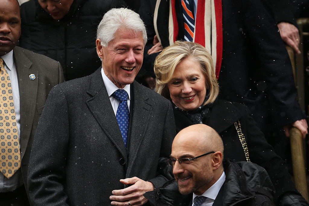 . Former president Bill Clinton and his wife, former Secretary of State Hillary Clinton, leave St. Ignatius Loyola Church after the funeral of former three-term governor Mario Cuomo on January 6, 2015 in New York City.   (Photo by Spencer Platt/Getty Images)