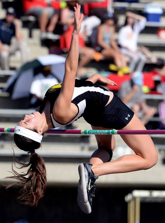 . Peninsula\'s Tammy McVickar competes in the high jump during the CIF-SS Masters Track and Field meet at Falcon Field on the campus of Cerritos College in Norwalk, Calif., on Friday, May 30, 2014.   (Keith Birmingham/Pasadena Star-News)