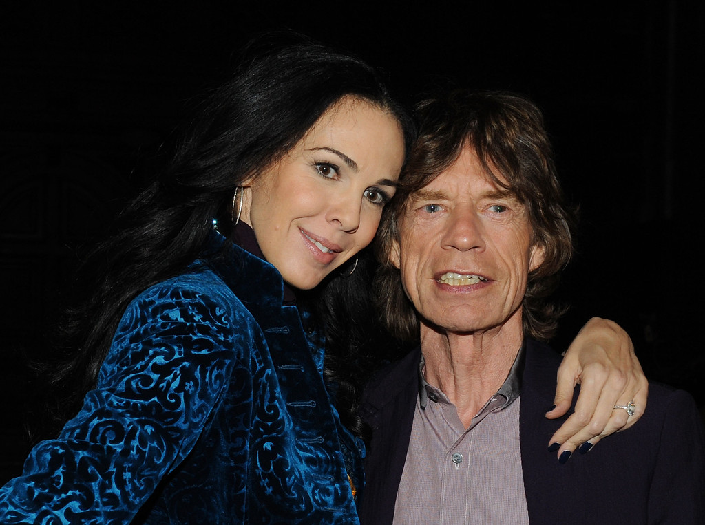 . Designer L\'Wren Scott and musician Mick Jagger pose at the L\'Wren Scott Fall 2012 fashion show during Mercedes-Benz Fashion Week at  the Desmond Tutu Center on February 16, 2012 in New York City.  (Photo by Slaven Vlasic/Getty Images)