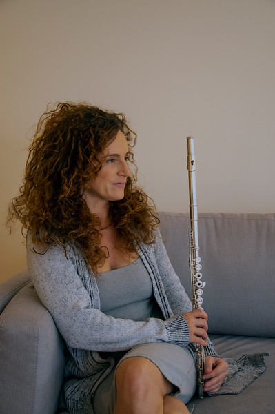 Nina at home with her flute