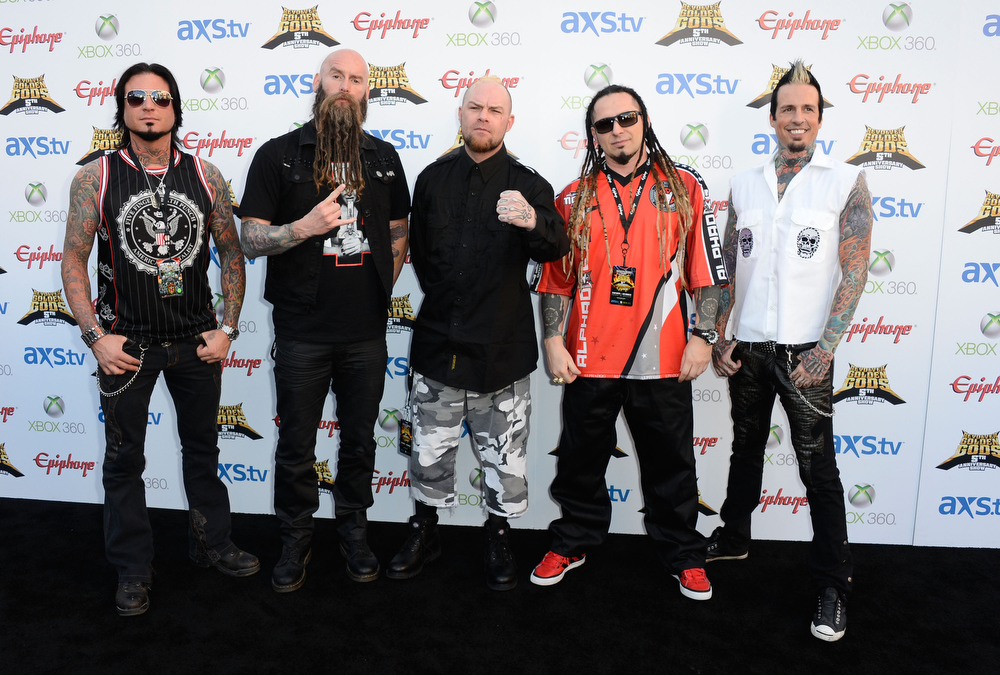. Five Finger Death Punch arrive at the 5th Annual Revolver Golden Gods Award Show  at Club Nokia on May 2, 2013 in Los Angeles, California.  (Photo by Frazer Harrison/Getty Images)