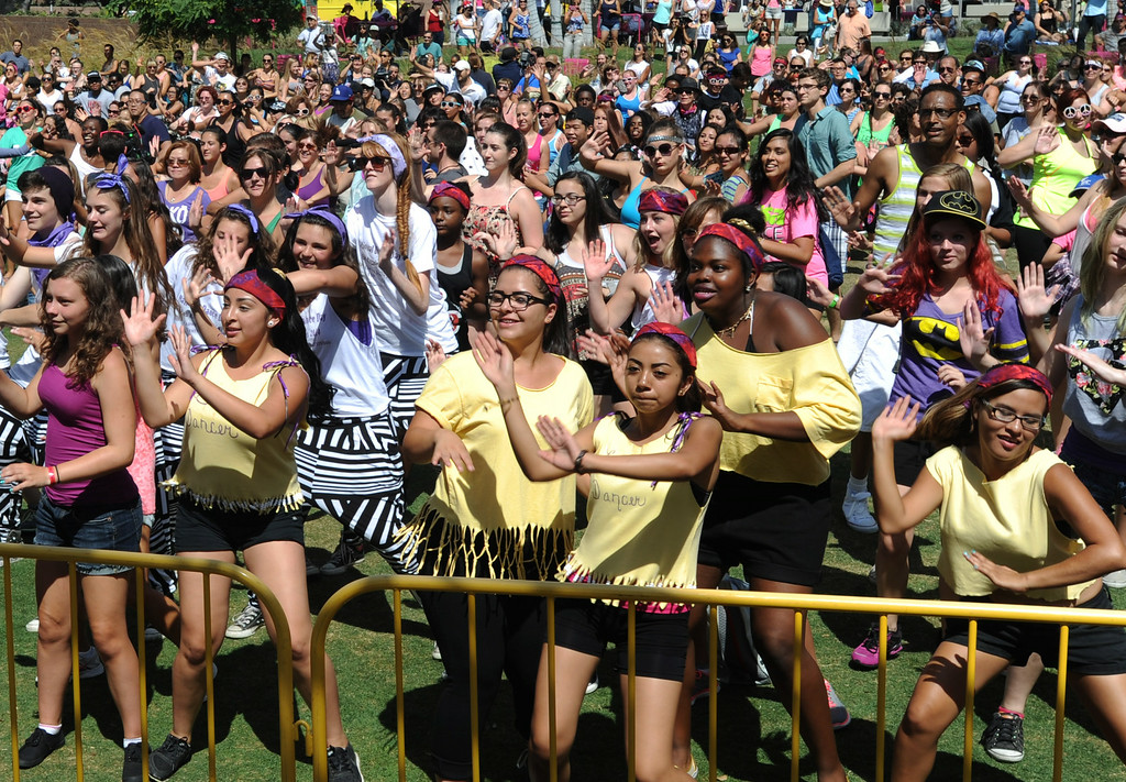 . The crowd learns dance steps during the 5th Annual National Dance Day celebration at Grand Park and The Music Center. More than 2,000 people participated in the free all-day dance extravaganza.  Los Angeles CA. 7/25/2014(Photo by John McCoy Daily News)