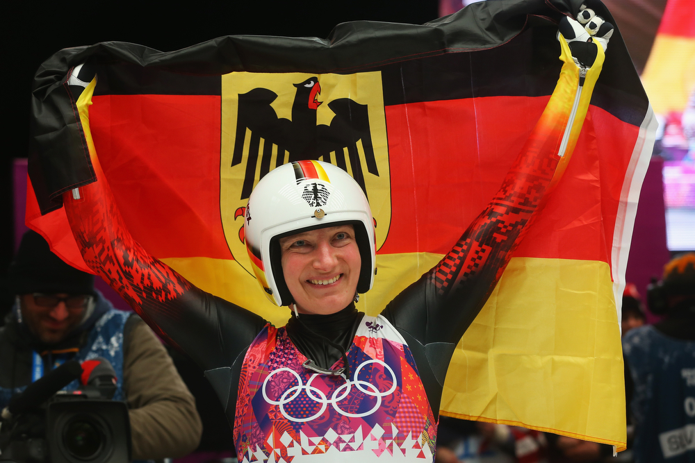 . Tatjana Huefner of Germany celebrates winning silver medal after the Women\'s Luge Singles on Day 4 of the Sochi 2014 Winter Olympics at Sliding Center Sanki on February 11, 2014 in Sochi, Russia.  (Photo by Alexander Hassenstein/Getty Images)