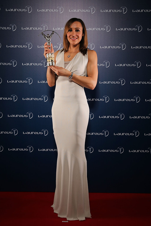 . Jessica Ennis poses with the award for Laureus World Sportswomen of the Year  in the winners studio during the 2013 Laureus World Sports Awards at Theatro Municipal do Rio de Janeiro on March 11, 2013 in Rio de Janeiro, Brazil.  (Photo by Ian Walton/Getty Images For Laureus)