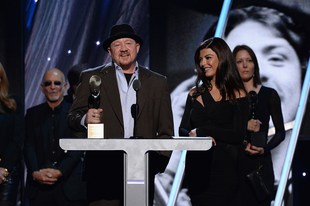 . Jason Federici (L) and Maya Stendahl, family of Danny Federici of the E Street Band speak onstage at the 29th Annual Rock And Roll Hall Of Fame Induction Ceremony at Barclays Center of Brooklyn on April 10, 2014 in New York City.  (Photo by Larry Busacca/Getty Images)