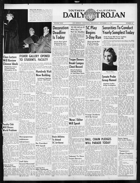 Daily Trojan, Vol. 31, No. 43, November 15, 1939