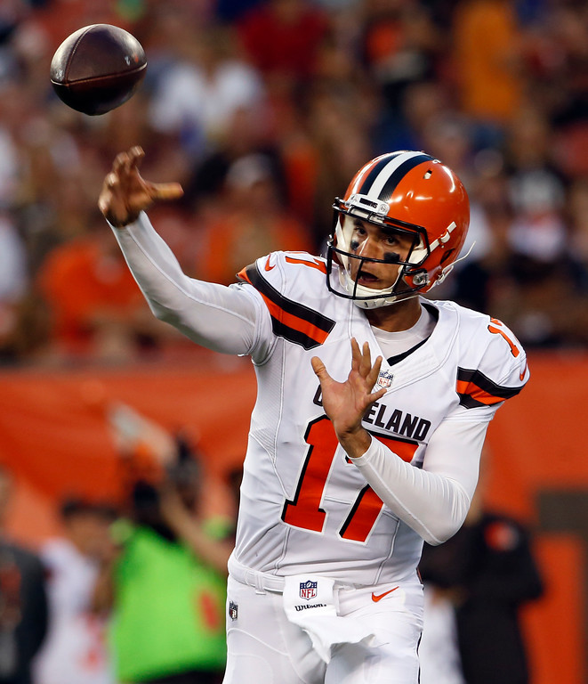 . Cleveland Browns quarterback Brock Osweiler (17) throws against the New Orleans Saints during the first half of an NFL preseason football game, Thursday, Aug. 10, 2017, in Cleveland. (AP Photo/Ron Schwane)