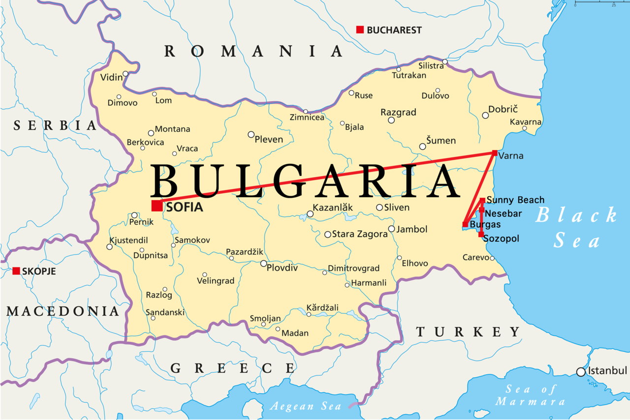 Bulgaria Beach Travel Map