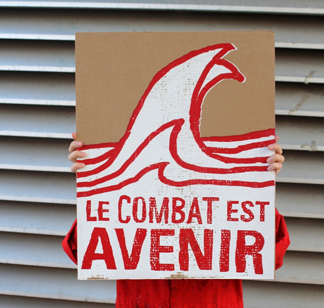 École de la Montagne rouge- Pancarte Le combat est AVENIR