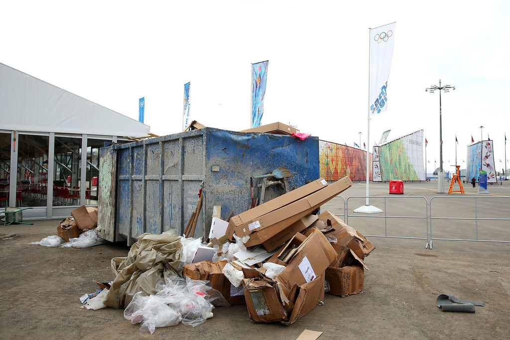 . A gargage bin filled with rubbish is seen ahead of the Sochi 2014 Winter Olympics at the Olympic Park on February 5, 2014 in Sochi, Russia.  (Photo by Quinn Rooney/Getty Images)