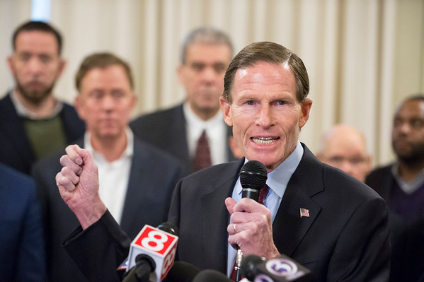 01/10/20 Wesley Bunnell | StaffrrSenator Richard Blumenthal speaks to the press during a conference on Friday afternoon. Senator Richard Blumenthal along with Governor Ned Lamont, Hartford Mayor Luke Bronin, Lt. Gov. Susan Bysiewicz, other government officials and community activists mets at Hartford City Hall on Friday afternoon to discuss how to help Puerto Rico after a series of earthquakes recently. The Senator called for fair and affordable prices on airline tickets leaving Puerto Rico which have skyrocketed in price. Others noted the Trump administrations failure to release federal funding already designated for relief efforts two years ago after Hurricane Maria.