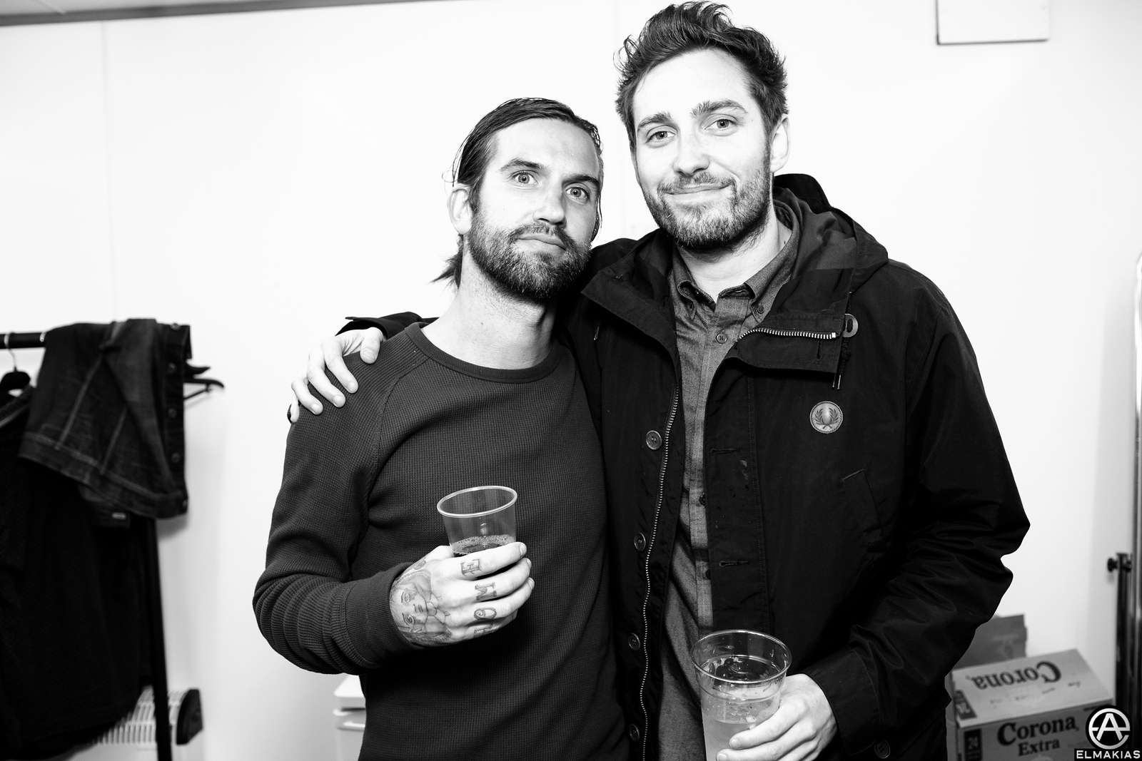 Keith Buckley of Everytime I Die and Josh Franceschi of You Me At Six, backstage at Reading Festival