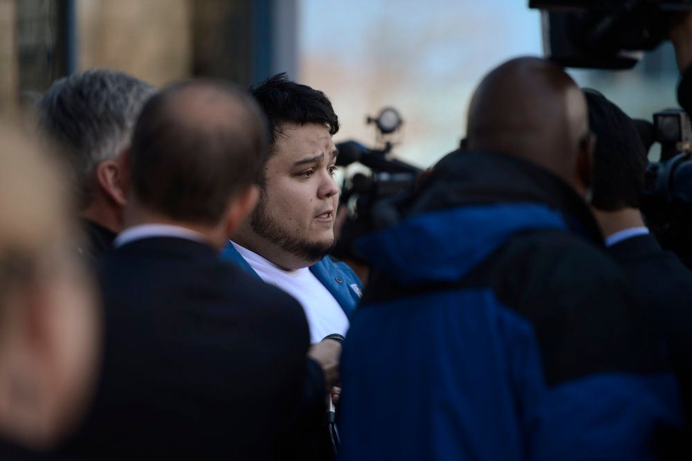 Description of . Bryan Beard a friend of Alex Sullivan talking to reporters after hearing the prosecution will try for the death penalty in People v. James Holmes hearing at the Arapahoe County Justice Center April 01, 2013 Centennial, Colorado. (Photo By Joe Amon/The Denver Post)