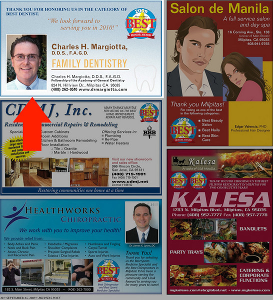 Advertisment in Milpitas Post Top 100 Issue - Dr. Margiotta
