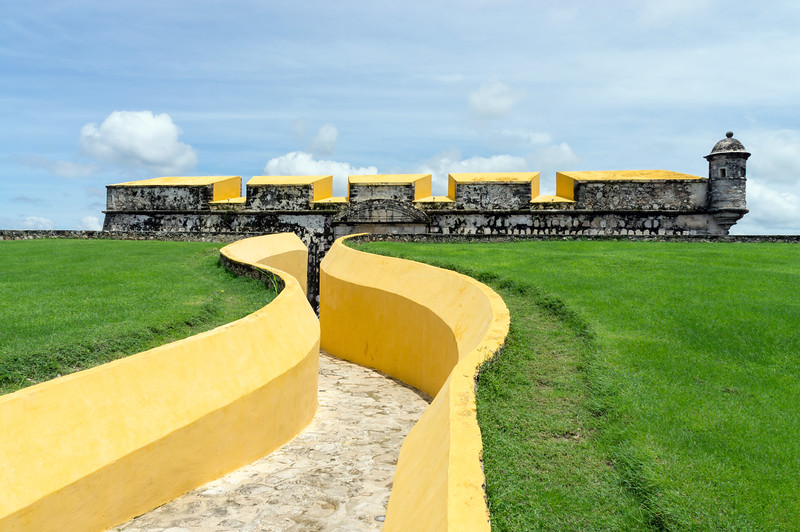 Fort San Jose, Yellow Fortress In Campeche City, Mexico