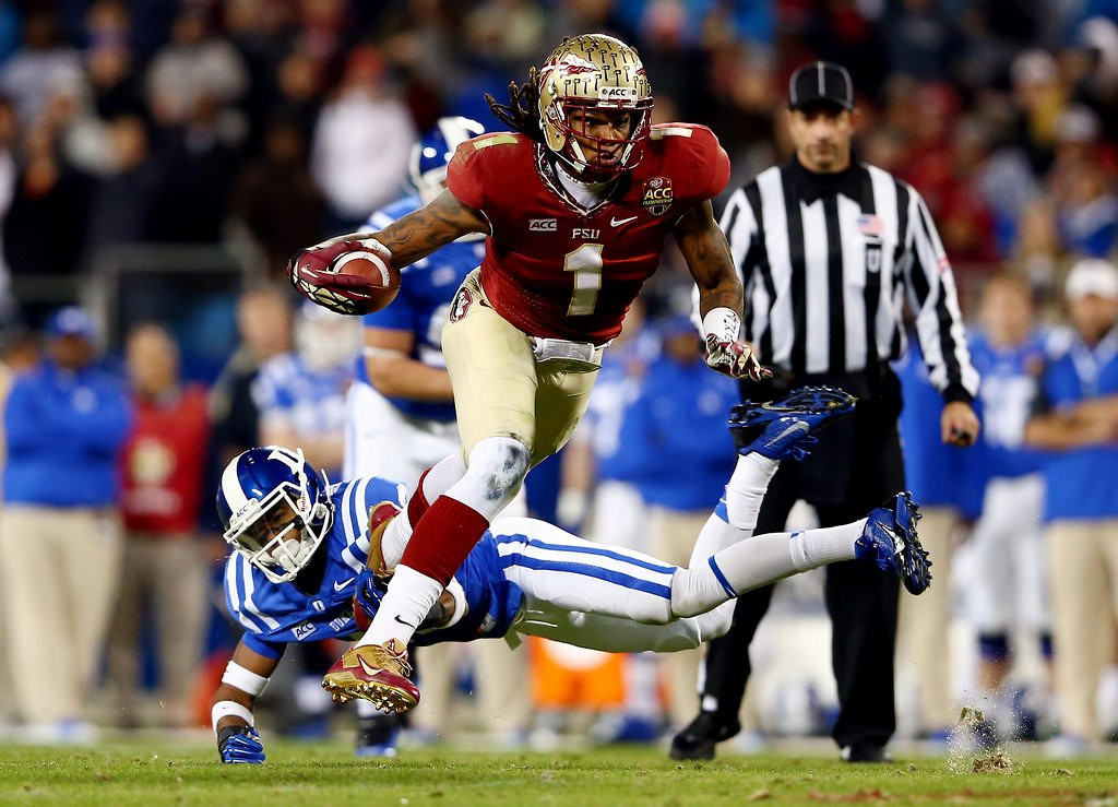 """. <p><b>25. San Diego: Kelvin Benjamin, WR, Florida State. </b> <p>More targets for Philip Rivers are always welcome as the Chargers wouldn\'t mind returning to the success they had during the \""""Air Coryell\'\' days.   (Streeter Lecka/Getty Images)"""