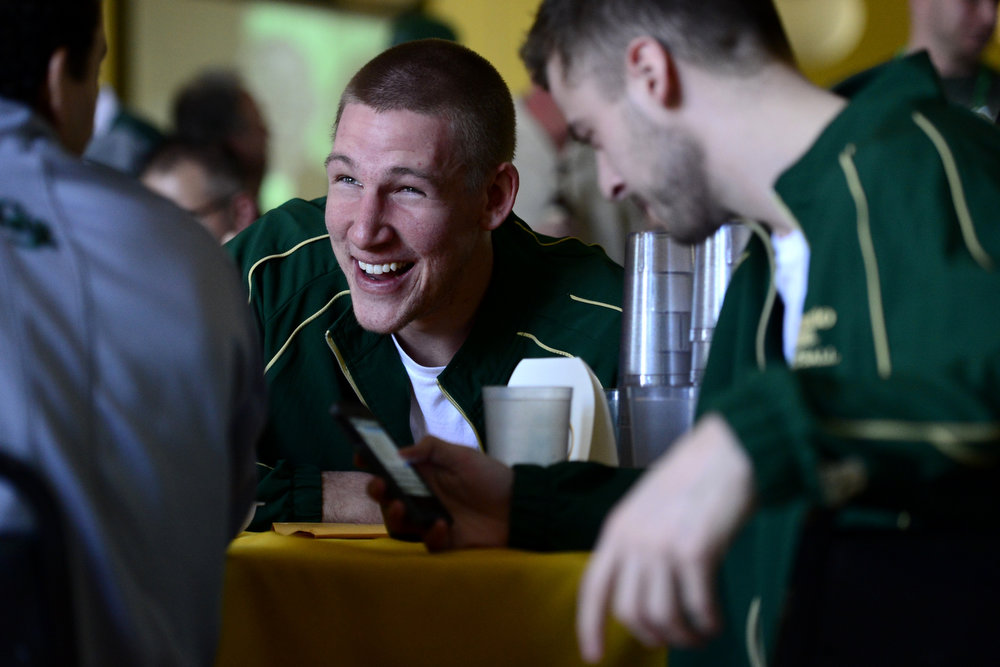 . CSU player Colton Iverson laughs as he and teammates await their seeding during the NCAA tournament selection show. The Rams earned an eight seed and will play ninth-seeded Missouri in the second round. (Photo by AAron Ontiveroz/The Denver Post)
