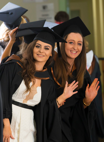 02/11/2016. Waterford Institute of Technology (WIT) Conferring Ceremonies November 2016. Pictured are Evie Curran from Tipperary with Rebecca Cummins from Ferrybank, Waterford who graduated BA (Hons) in Early Childhood Studies. Picture: Patrick Browne