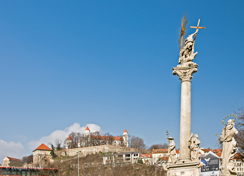 Bratislava castle on the hill overlooking the city
