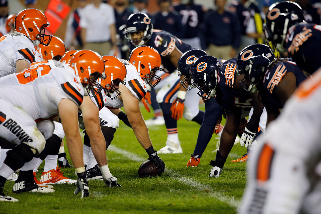 . The Cleveland Browns play the Chicago Bears during the second half of an NFL preseason football game, Thursday, Aug. 31, 2017, in Chicago. (AP Photo/Charles Rex Arbogast)