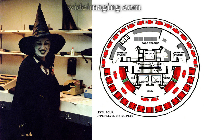 """Halloween at the Sunsphere 1982. A seating chart appears in front of the Amex card swipe and adding machine. The waitress is also wearing a """"I was there on Closing Day!"""" button. Photo from waitress station."""