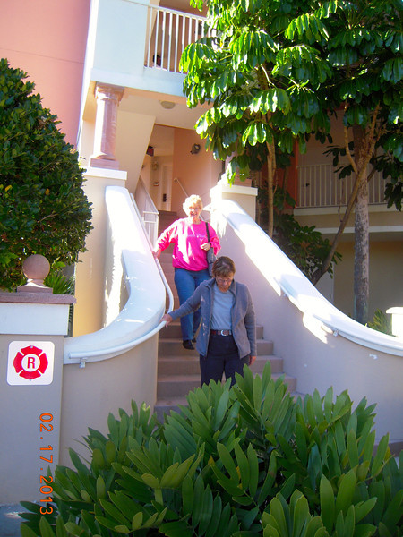 Stairs to room at Marriott, Louise & Liz