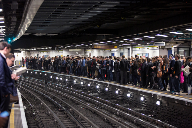 . Commuters prepare to travel on the District Line of the London Underground which is running a limited service due to industrial action on April 30, 2014 in London, England. At 9pm on April 28, 2014 members of the Rail, Maritime and Transport (RMT) Union commenced a 48 hour strike on the London Underground over plans to close all ticket offices with the loss of nearly 1000 jobs.  (Photo by Oli Scarff/Getty Images)