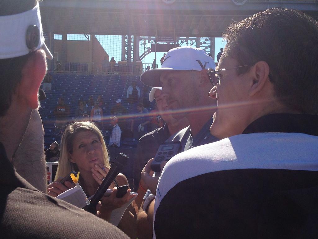 . Brian Hoyer talking to the media.