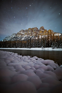 """""""Frigid Fortress"""" I  I thought the riverside snow pillows added a somewhat comforting vibe to an otherwise harsh, angular winter scene.   Castle Mountain, Banff National Park."""