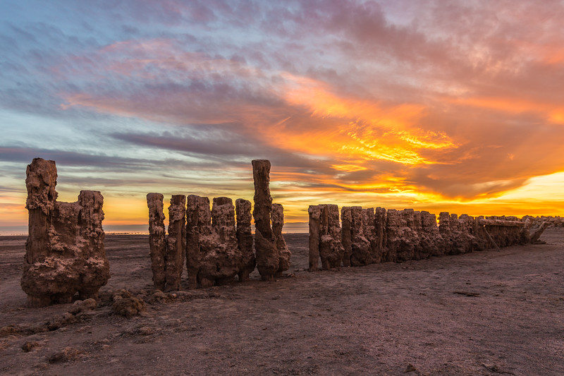 Sunset and Pilings at Bombay Beach