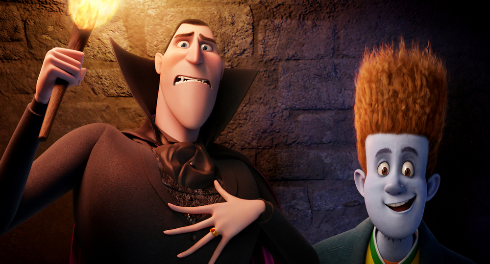 Description of . This film image released by Sony pictures shows Dracula, voiced by Adam Sandler, left, and Johnnystein, voiced by Andy Samberg in a scene from