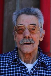 Tibério Borba (Topo, São Jorge), born 1925, pictured outside the fire station in Topo. July 30, 2012.
