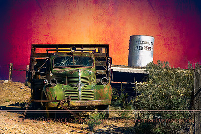 """Beirut Truck"", a 1947 Dodge two-ton Stakebed, with the windows shot out, Hackberry, AZ, Rte. 66"
