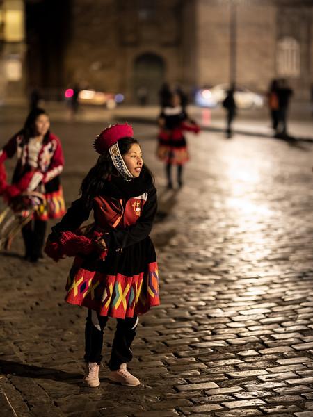 nighttime dancer Plaza Mayor Cusco.jpg