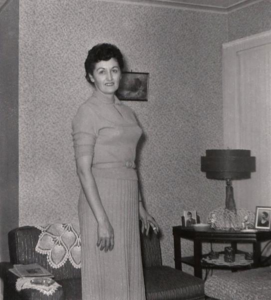 Hazel (Doss) Davenport in her living room. Photo processing date is Oct. 1959.