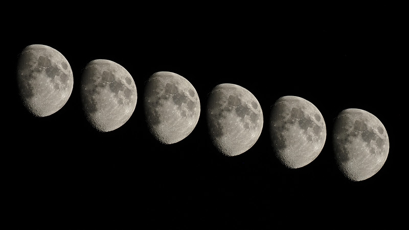 Waxing Gibbous Multiple Exposure