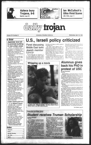 Daily Trojan, Vol. 111, No. 61, April 18, 1990