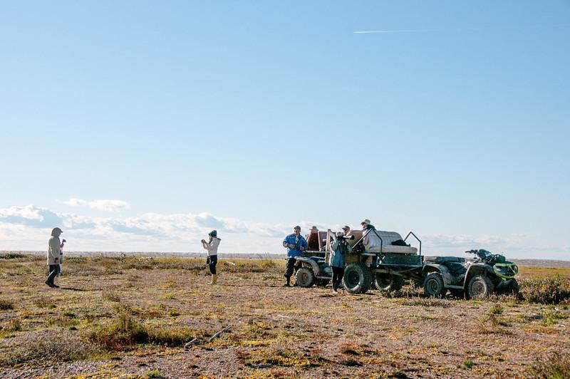Tourists at Hudson Bay in Manitoba, Canada