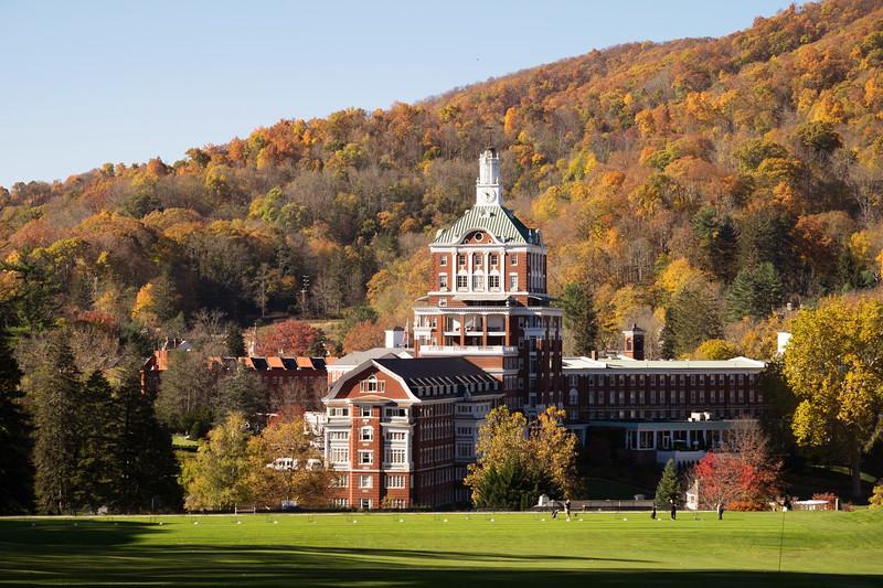 The Omni Homestead with fall foliage