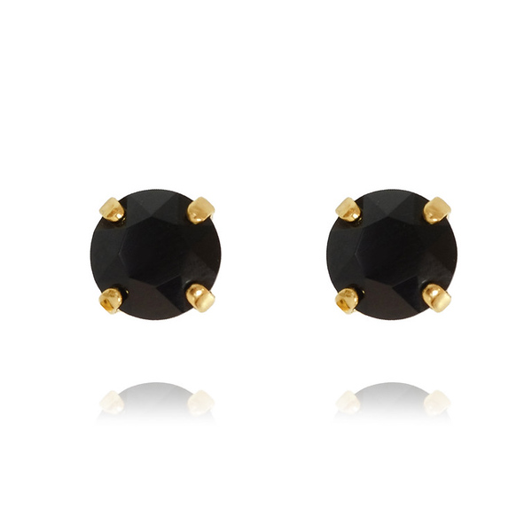 Petite Stud Earrings / Jet Gold