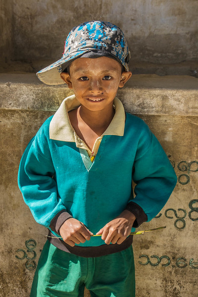 Boy in village along the Chindwin River, northwest Myanmar.
