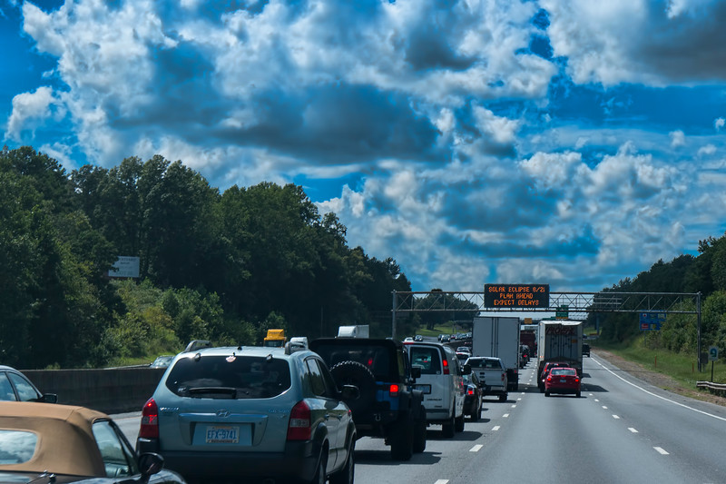 Warnings posted on the Interstate before the Eclipse