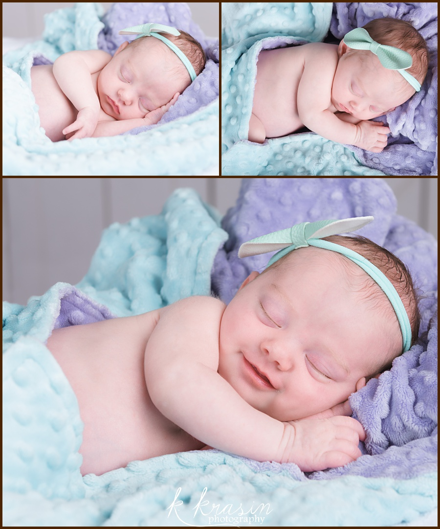 Collage of photos of newborn girl on purple and teal blanket
