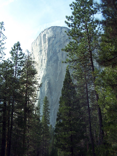"El Capitan, Spanish for ""the chief"", guards the entrance to Yosemite Valley. It is thought to be the largest single block of exposed granite in the world, rising 3,593 ft. above the Merced River."