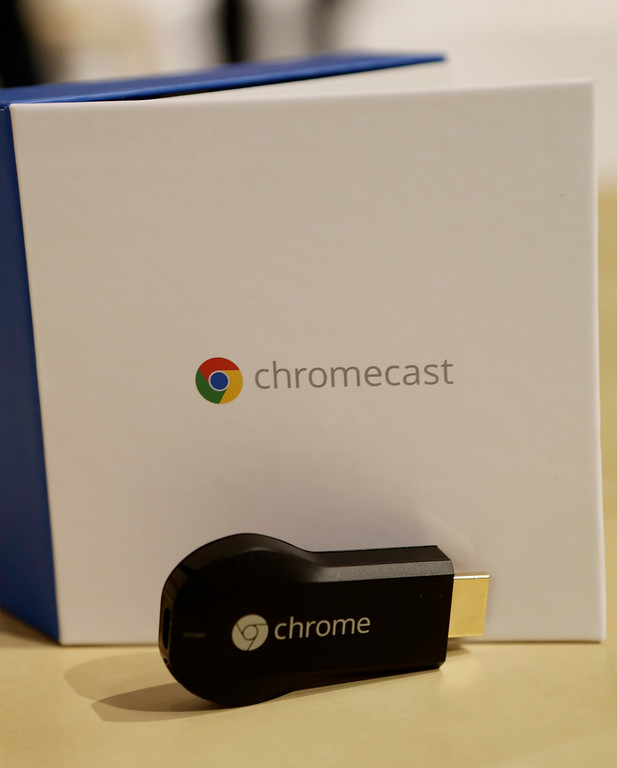 . A new Chromecast media device is introduced by Google during a presentation at Dogpatch Studios in San Francisco, Calif. on Wednesday, July 24, 2013. The device allows users to transfer web content directly to the television. (Gary Reyes/Bay Area News Group)