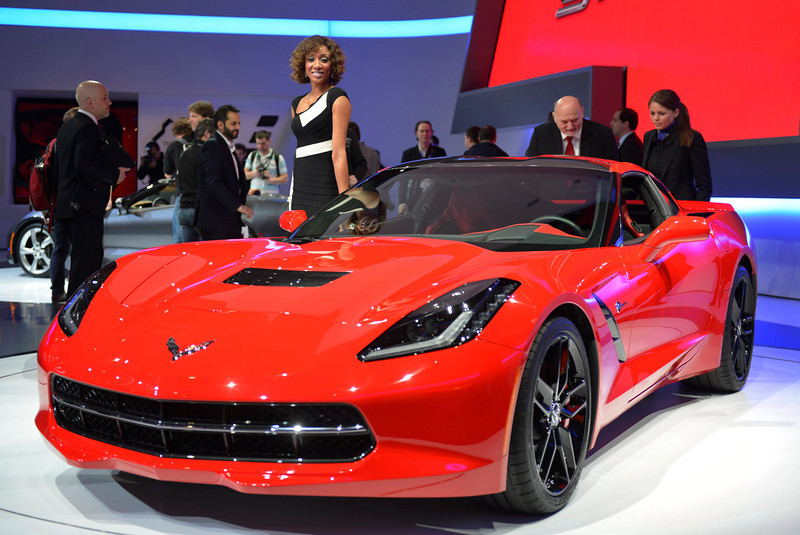 . The new Chevrolet Corvette Stingray is displayed in World premiere at the American carmaker\'s booth on March 5, 2013 on the press day of the Geneva car Show in Geneva. The Geneva International Motor Show opens its doors under a dark cloud, with no sign of a speedy rebound in sight for the troubled European market. The event, which is considered one of the most important car shows of the year, will again be heavily marked by the crisis in Europe after an already catastrophic year in 2012.   SEBASTIEN FEVAL/AFP/Getty Images