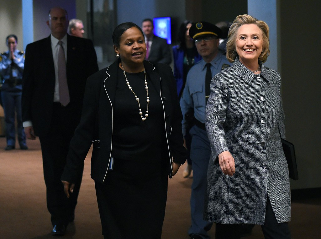 . Hillary Clinton arrives to answer questions from reporters March 10, 2015 at the United Nations in New York. Clinton admitted Tuesday that she made a mistake in choosing for convenience not to use an official email account when she was secretary of state. But, in remarks to reporters after attending a United Nations event, she insisted that her email set-up had been properly secure and that she had turned over all professional communications to the State Department.          (DON EMMERT/AFP/Getty Images)