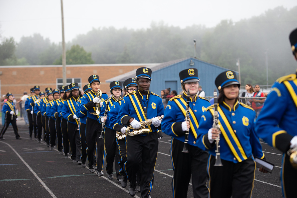 . Aimee Bielozer - The Morning Journal<br> Clearview\'s marching band enters the stadium on Sept. 14.