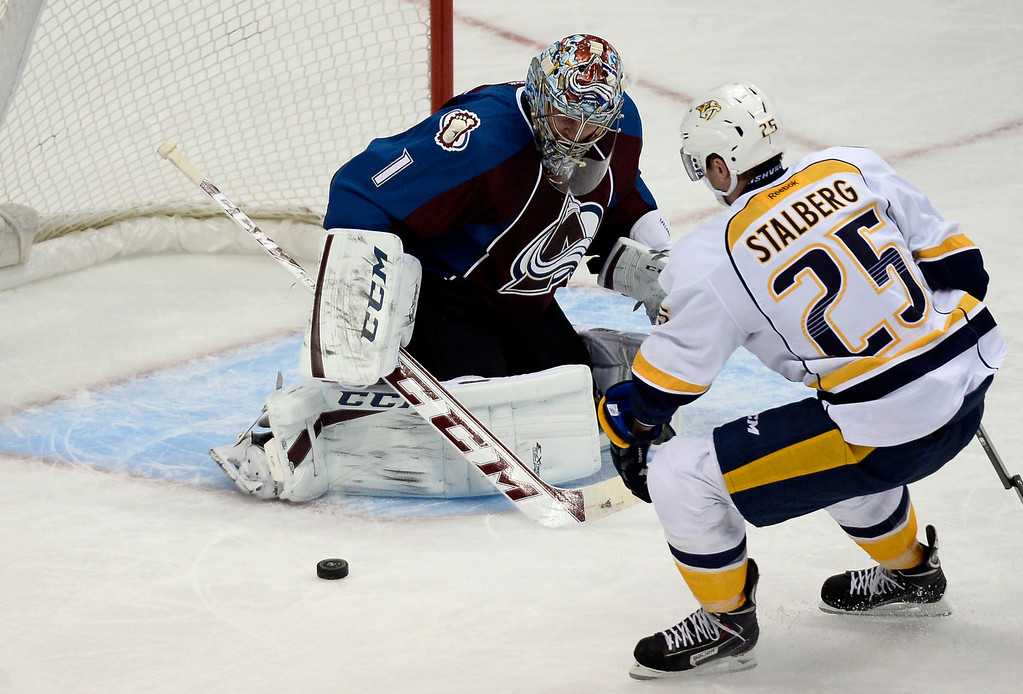 . Colorado Avalanche goalie Semyon Varlamov (1) makes a save on a shot by Nashville Predators left wing Viktor Stalberg (25) during the second period November 6, 2013 at Pepsi Center. (Photo by John Leyba/The Denver Post)